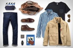 Timberland Earthkeepers Kempton Chukka Boot ($140). Timberland Parker River Shirt ($68). Timberland Earthkeeper Winnegance Duffle Bag ($375). Timberland Baker Mountain Field Jacket ($168). Scotch & Soda Vernon Jeans ($149). NN.07 Contrast Pocket Tee ($80). Eyevan 7285 Sunglasses ($485). Baxter of...