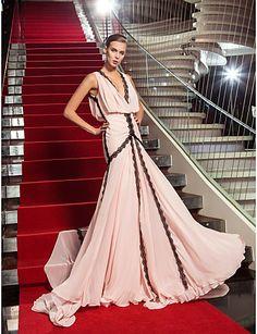 Sheath/Column V-neck Sweep/Brush Train Georgette Evening Dress (759922) – USD $ 109.99