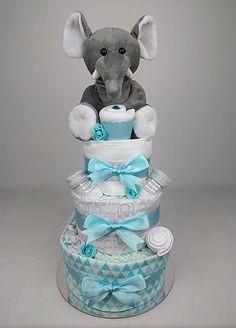 Three Tier Aqua Elephant Nappy Cake - Nappy Cakes by Emma