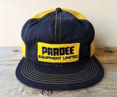 Vtg 80s PARDEE EQUIPMENT LIMITED Golden Mesh Trucker Hat Snapback Cap K-Brand #KBrand #BaseballCap