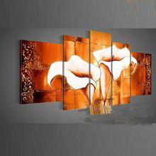Peint à la main cinq panneaux de peintures à l'huile sur toile abstraite moderne fleur décoration de la maison peinture à l'huile pour le salon ML-YTX-02(China (Mainland))