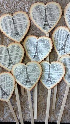 Eiffel Tower Toppers Shabby Chic Paris Cake by GoldenNestStudio, $15.00