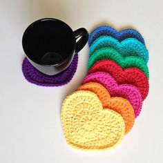 Heart Shaped Coaster, made with cotton yarn, rainbow hearts, Valentine's gifts, house warming g Crochet Gifts, Crochet Toys, Crochet Home Decor, Plush Pattern, Rainbow Heart, Vintage Crafts, Valentine Gifts, Crochet Projects, Heart Shapes