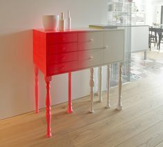 Wonderful Neon Squid Cabinet For Interior Design : Wonderful Neon Squid Cabinet For Interior Design With Red And White Colors And Wooden Flo...