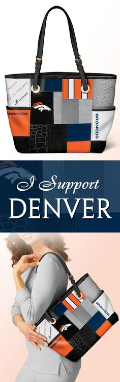 Take your NFL team pride with you everywhere you go! This officially-licensed Denver Broncos tote bag showcases a stylish patchwork design that will go with any ensemble. For game day or every day, let your true colors show!