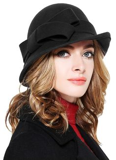 Hats & Caps, Women's Hats & Caps, Bucket Hats, Women Solid Color Winter Hat Wool Cloche Bucket With Bow Accent Black Hats Womens Fashion For Work, Latest Fashion For Women, Fashion Women, 1940s Fashion, Fashion Hats, Fashion Sandals, Witch Fashion, Fashion Top, Fashion Black