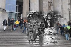 WWII photo overlaid on to present day photo taken from the exact same location.