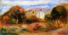 Pierre Auguste Renoir Landscape With House oil painting reproductions for sale