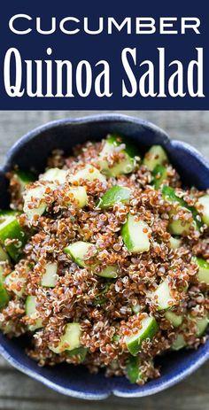 Cucumber Mint Quinoa Salad ~ Quick easy quinoa salad with cucumbers and mint. Perfect for a summer picnic salad! ~ SimplyRecipes.com #salad #vegan #cucumber #quinoa