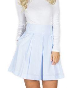 Lauren James - Pleated Seersucker Skirt Light Blue Seersucker - Front