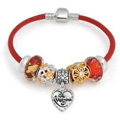 Sterling Silver Grandma Heart Bead Bracelet Pandora Compatible ($80) ❤ liked on Polyvore featuring jewelry, bracelets, charm-bracelets, red, sterling silver charm bangle, red charm bracelet, charm bangles, charm bracelet and bear charm