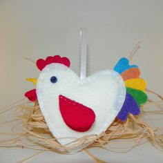 Valentines Day White Felt Rooster Ornament by MerrilyMadeHartworks,