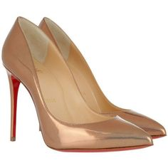 Christian Louboutin Pumps - Pigalle Follies 100 Metal Patent Leather... (€490) ❤ liked on Polyvore featuring shoes, pumps, gold, metallic shoes, gold shoes, christian louboutin pumps, gold pumps and gold stilettos