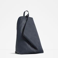 Zara navy asymmetrical leather backpack