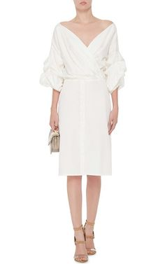 White Cotton Tuxedo Dress by JOHANNA ORTIZ Now Available on Moda Operandi