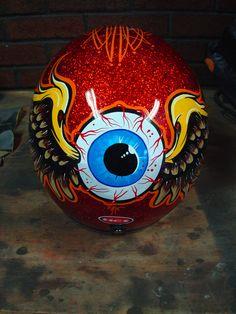 HCI red flaked helmet