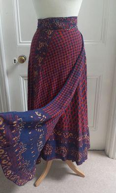 Vtg 70s Red Wrap Around Maxi Skirt Bohemian Hippie India Boho Ethnic Gypsy S/M