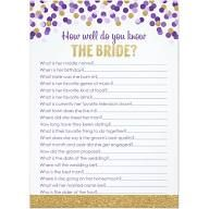 Bridal Shower Trivia Game- Purple and Gold Card