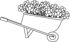 Black and White Wheelbarrow Filled with Flowers Clip Art Black and White Wheelbarrow Filled with Flowers Image White flower clip Clip art Clip art vintage