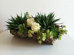 Modern Succulent Floral Arrangement - Ivory, Green. $72.00, via Etsy.