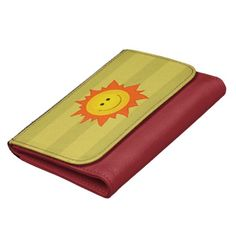 Customizable cute wallet with a happy smiling cartoon sun on green striped background. $26.95 #wallet #wallets #accessories