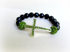 Pave Cross Bracelet Peridot and Onyx Stones by TrendsToday on Etsy, $40.00