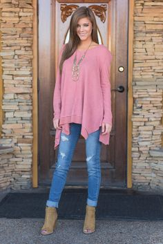 """Let's Get Going Top, Mauve"" This waffle weave top will help you feel fall ready in to time! The fabric is breathable but still wonderfully warm! The color is also great for the season! #newarrivals #shopthemint"