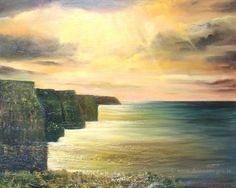 Official website of contemporary Irish artist, Donna McGee. Vibrant and atmospheric oil paintings inspired by the timeless beauty of the Irish landscape. Seascape Paintings, Landscape Paintings, Landscapes, Cliffs Of Moher, How To Find Out, Places To Visit, Waves, Fine Art, Abstract