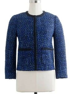 fd0e2df672 Details about J Crew Womens Size 10 Lady Jacket in Blue Tweed Blazer Career  HTF Lined Wool