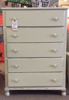 $99.00 distressed vintage cream chest of drawers.  Found at A Classy Flea in Marietta 10/3 (knk)