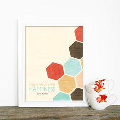 Items similar to Jane Austen Digital Art Print Poster - Know Your Own Happiness - Geometric Honeycomb Southwest Inspired Aqua Red Brown on Etsy Jane Austen, Hexagon Cards, Wine Design, Wall Collage, Geometric Shapes, Design Inspiration, Design Ideas, Original Art, Print Poster
