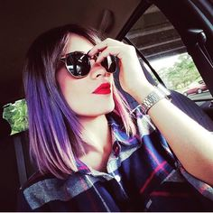 Shades on shades on shades… of color. Red Lip Makeup, Hair Makeup, Cat Eye Sunglasses, Sunglasses Women, Long Bob Hairstyles, Red Lips, Hair Color, Colorful Hair, Hair Styles