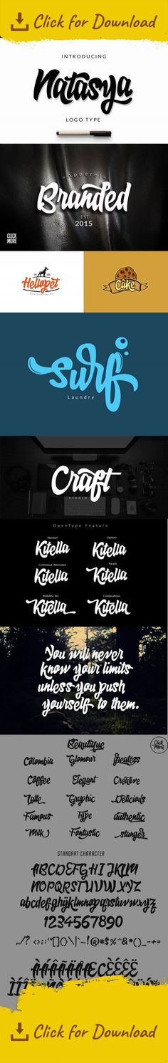 brush, calligraphy, elegant, flow, font, handwriting, lettering, logo, modern, natural, opentype, packaging, painting, playful, poster, script, sign, t-shirt, typeface Natasya is bold, playful, modern, and multi-purpose typeface that combines brush lettering with natural handwriting. It is suitable for logo, packaging, headline, poster, t-shirt, etc. With 401 glyphs and 191 alternatives characters, you can mix and match Natasya to fit your design. The alternative characters divided into ...