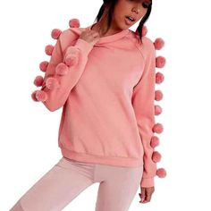 Women Blouse Long Sleeves Sweatshirt Sweater Casual Coat Pullover Sweet Pink Wool ball Decorate blusa feminina#LSIN