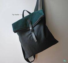 Mochila elegante convertible Messenger bolsa lona impermeable