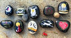 A Xmasy selection of hand painted pebbles by me