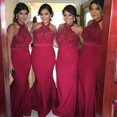 Cheap Popular Red Halter Sexy Mermaid Lace Long Wedding Guest Bridesmaid Dresses, BG0043