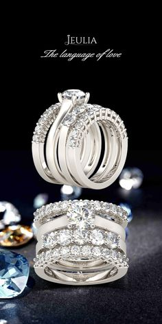 Jeulia offers premium quality jewelry at affordable price, shop now! Jewelry Rings, Jewelry Accessories, Jewellery, Wedding Set, Wedding Rings, Sapphire Wedding, Italian Jewelry, White Sapphire, Diamond Are A Girls Best Friend