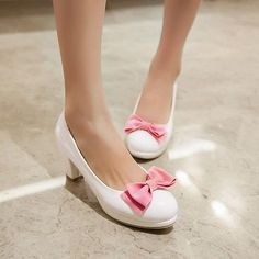 Sweet Candy Bowknot Womens Slip On Block Heeled Pumps Court Lolita Party Shoes