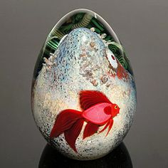 """Art-Glass 'Red Beta Fish' Egg Paperweight by Orient & Flume - D's: 4.25""""H x 3""""Dia 