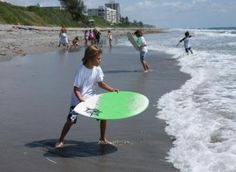Learning to Skim Board is one of the activies kids love most during the day. Our instructors teach kids, regaurdless of age, the best way to catch the best waves! #Skimboarding #Fortlauderdale #catchingthewaves