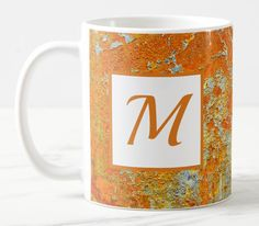 Shop Personalized Rust Pattern Mug created by TheDigitalConsultant. Coffee Gifts, Coffee Mugs, Mugs For Sale, Mug Designs, Beverage, Microwave, Rust, Dishwasher, Initials