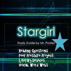 Stargirl by Jerry Spinelli lesson plans, study guide and reading questions Stargirl Movie, Word Web, Literary Terms, Extra Credit, Literature Circles, Peer Pressure, Star Girl, Teacher Pay Teachers, Nifty