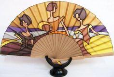 abanico de seda, 3 meninas  seda natural,madera pintura sobre seda,montaje artesanal