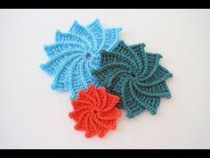 3D crochet flowers multi petals  - 1 - YouTube