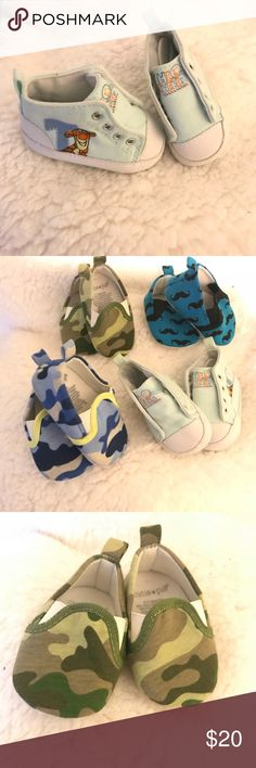 Baby Boy Shoes Three of the shoes are labeled a size 0-3 months & the Tiger shoes are labeled a size 1. Feel free to make offers. Shoes Sneakers