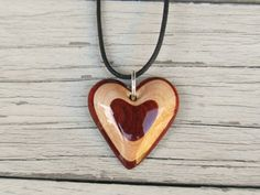 Wooden Heart Necklace  Maple & South American Bloodwood by TheLotusShop…