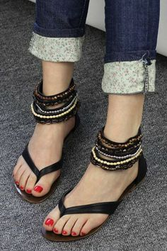 Bohemia Bead Embellished Flip Flop Style Flats