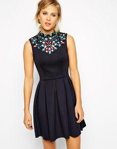 Enlarge ASOS Scuba Mini Dress With Jewelled Neck