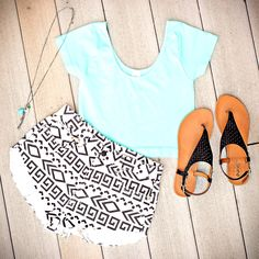 Black and White Tribal Print Shorts